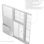 Ściana o konstrukcji szkieletowo-ryglowej z elewacyjnym wykończeniem pionowymi deskami na łatach